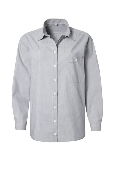 Pionier Business-Bluse 1/1 Arm grau/weiß fein gestreift