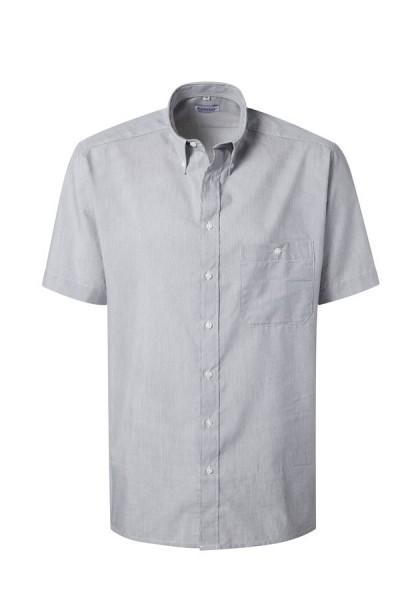 Pionier Business-Hemd 1/2 Arm grau/weiß fein gestreift