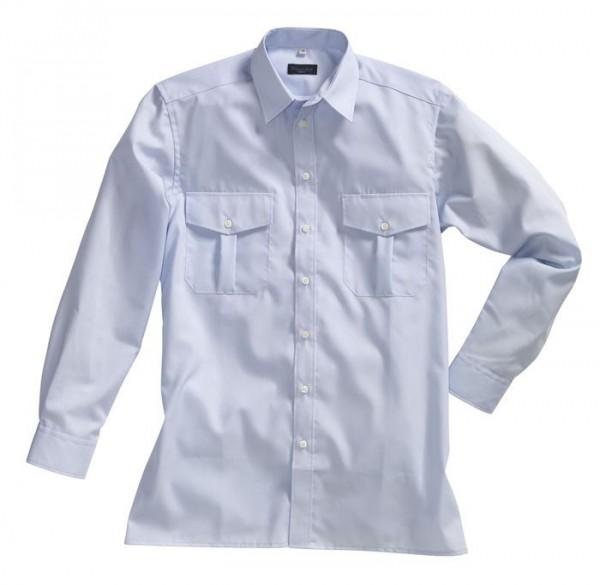 Pionier Pilot-Hemd 1/1 Arm ohne Schulterklappen bügelfrei hellblau