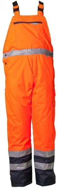 Planam Warnschutz Winter Latzhose Kontrast orange/marine