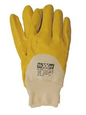 Gelbe Handschuh mit Strickbund