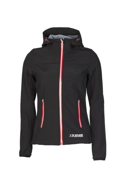 Planam Unit Damen Softshell Jacke schwarz/rot