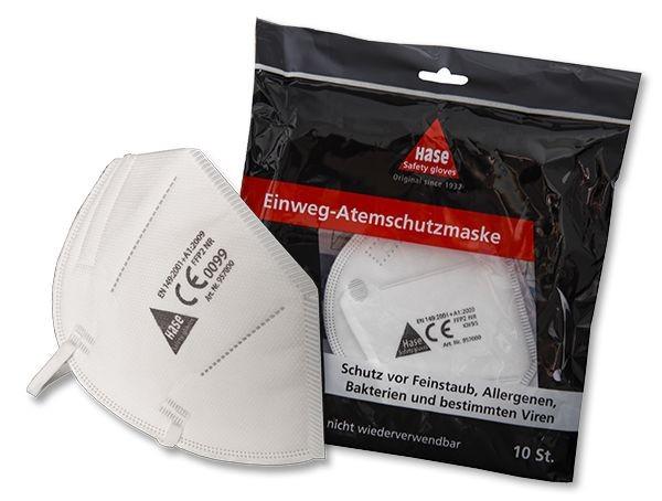 Hase Atemschutz-Faltmaske EN 149, FFP2 NR mit Nasenbügel