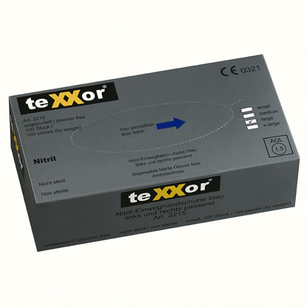 texxor Nitril-Einweghandschuhe blau ungepudert Box